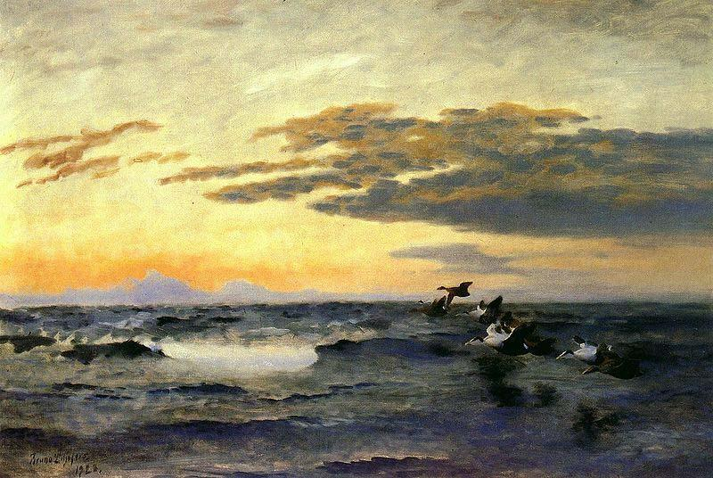 bruno liljefors Eiders at Sunrise