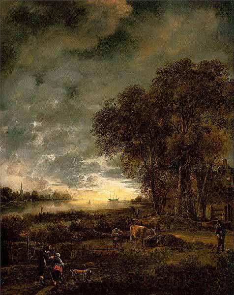 Aert van der Neer A Landscape with a River at Evening