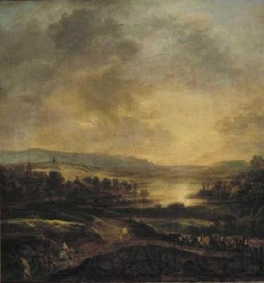 Aert van der Neer Hilly landscape at sunset.