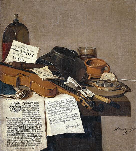 Anthonie Leemans Still life with a copy of De Waere Mercurius