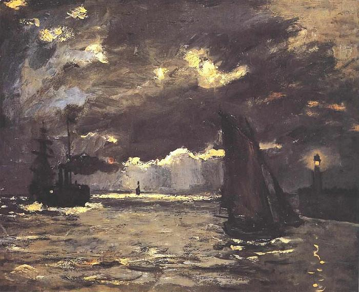 Claude Monet A Seascape, Shipping by Moonlight