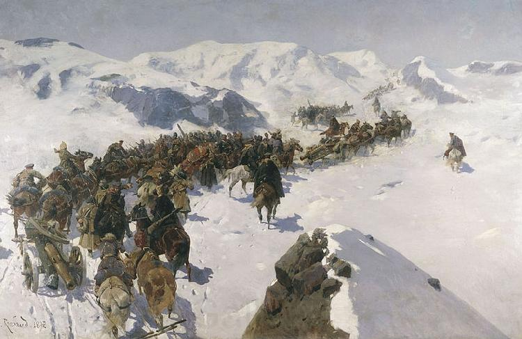 Franz Roubaud Count Argutinsky crossing the Caucasian range