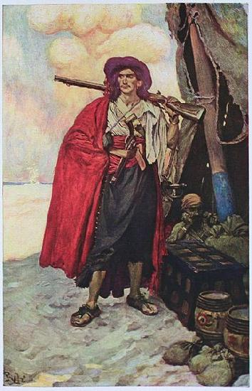 Howard Pyle The Buccaneer was a Picturesque Fellow: illustration of a pirate, dressed to the nines in piracy attire.