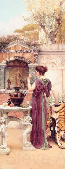 John William Godward At the Garden Shrine Pompeii