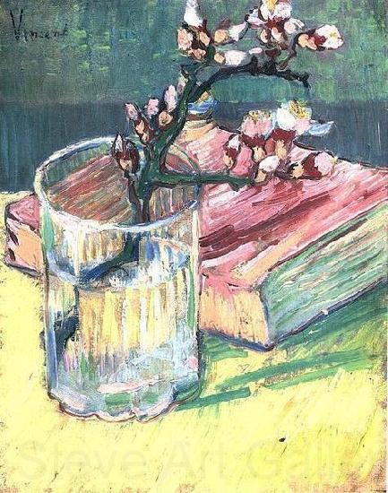 Vincent Van Gogh Blossoming Almond Branch in a Glass with a Book