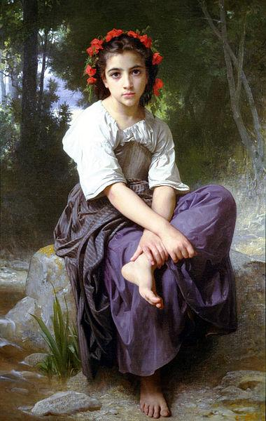 William-Adolphe Bouguereau At the Edge of the Brook