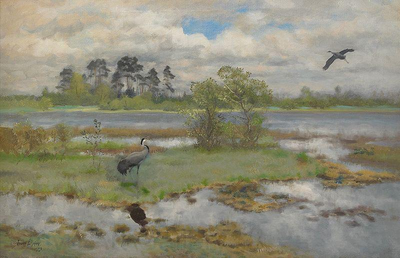 bruno liljefors Landscape With Cranes at the Water