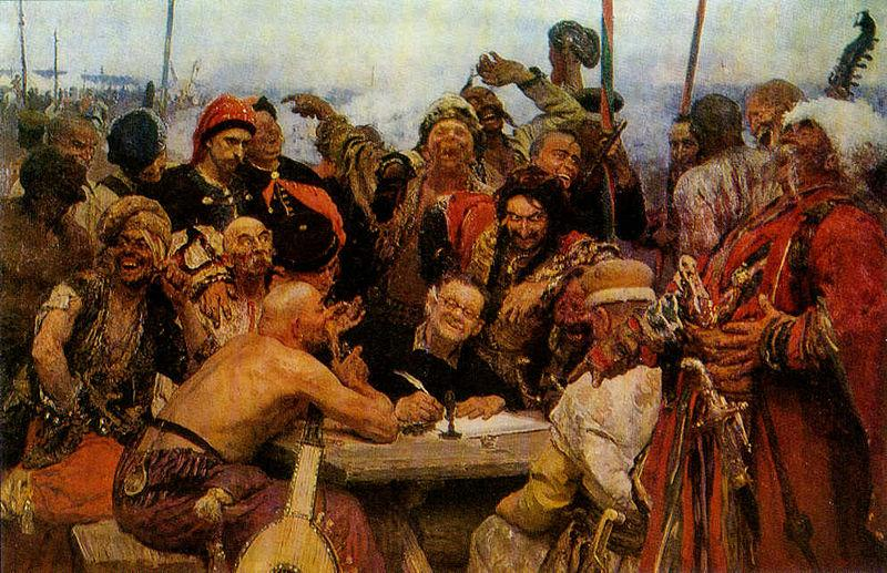 llya Yefimovich Repin The Reply of the Zaporozhian Cossacks to Sultan of Turkey