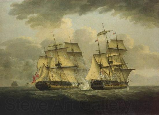 unknow artist An oil painting of a naval engagement between the French frigate Semillante and British frigate Venus in 1793