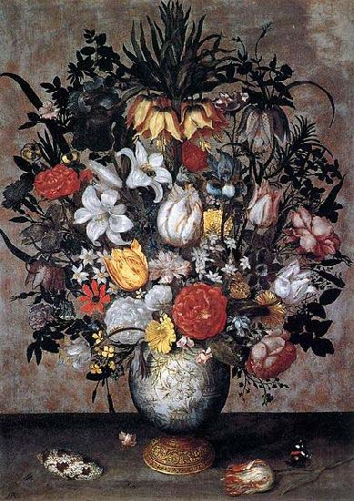 Ambrosius Bosschaert Flowers in a Chinese Vase
