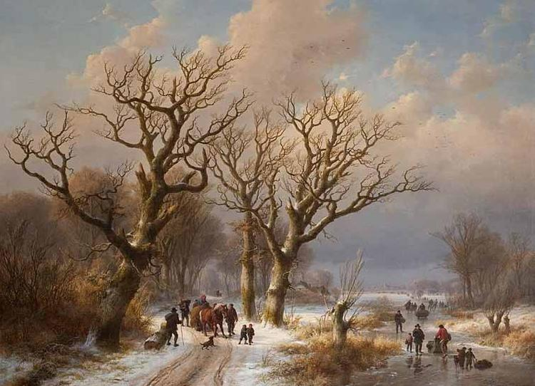 Eugene Verboeckhoven Winter Landscape with Horse