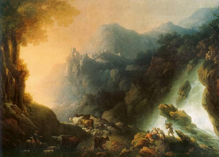 Franciszek Ksawery Lampi The mountain scenery from waterfall