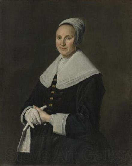 Frans Hals Portrait of woman with gloves.