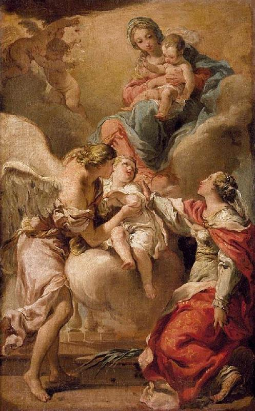 Gandolfi,Gaetano St Giustina and the Guardian Angel Commending the Soul of an Infant to the Madonna and Child