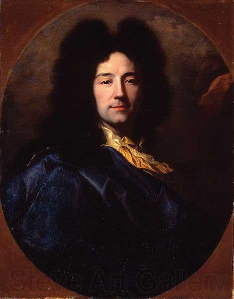Hyacinthe Rigaud Portrait of Portrait of the artist, bust-length, with a yellow cravat and a blue cloak, feigned oval.