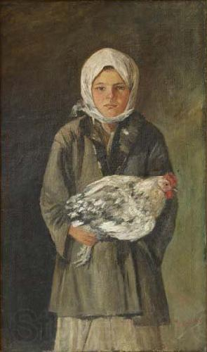 Ion Andreescu Girl holding a chicken