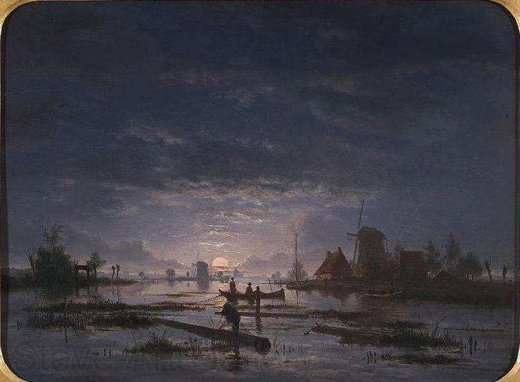 Jacob Abels An Extensive River Scene with Fishermen at Night
