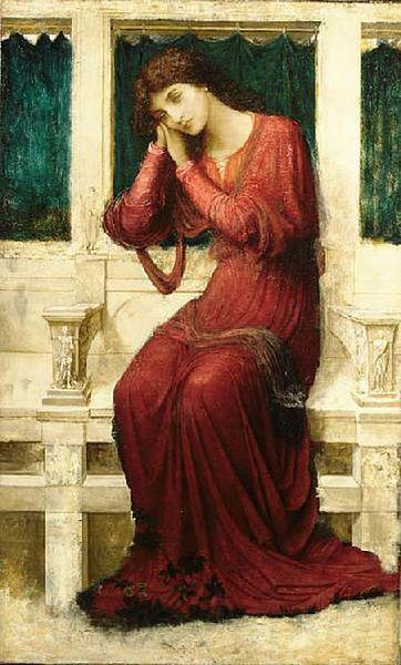 John Melhuish Strudwick When Sorrow comes to Summerday Roses bloom in Vain