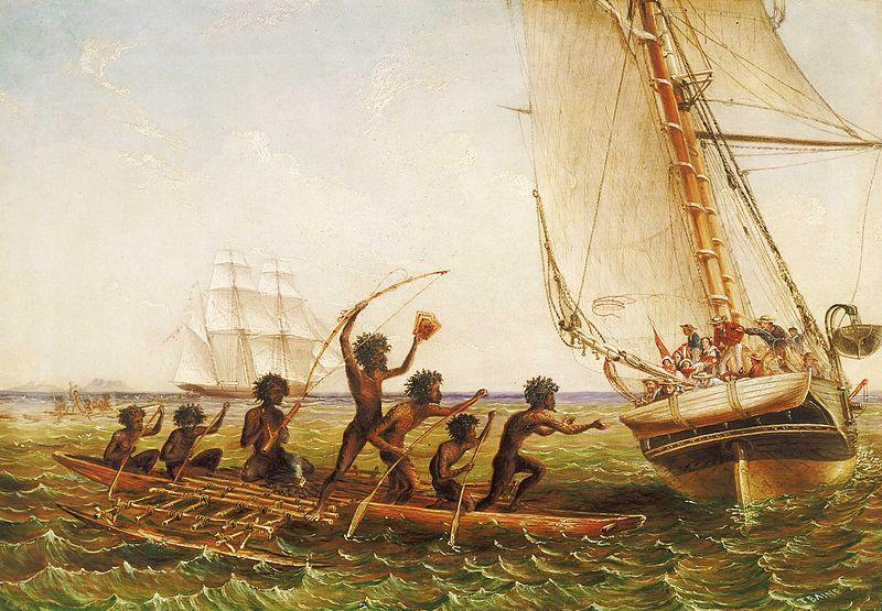 John Thomas Baines Aboriginal Canoes Communicating with the 'Monarch' and the 'Tom Tough', 28 August 1855
