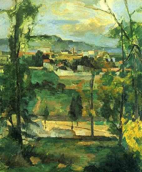 Paul Cezanne Dorf hinter den Baumen, Ile de France