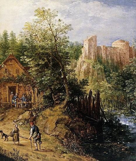 Pieter van Gunst Mountain Valley with Inn and Castle