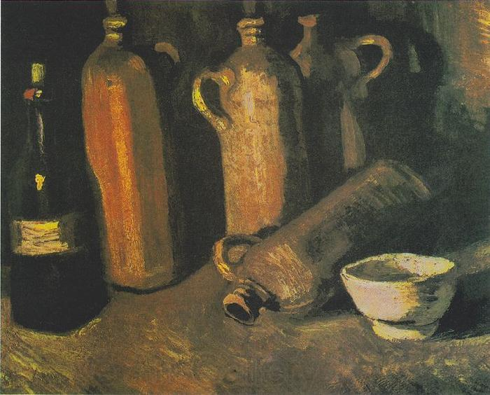 Vincent Van Gogh bottles and white bowl