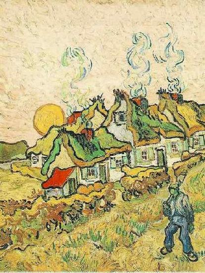 Vincent Van Gogh Thatched Cottages in the Sunshine