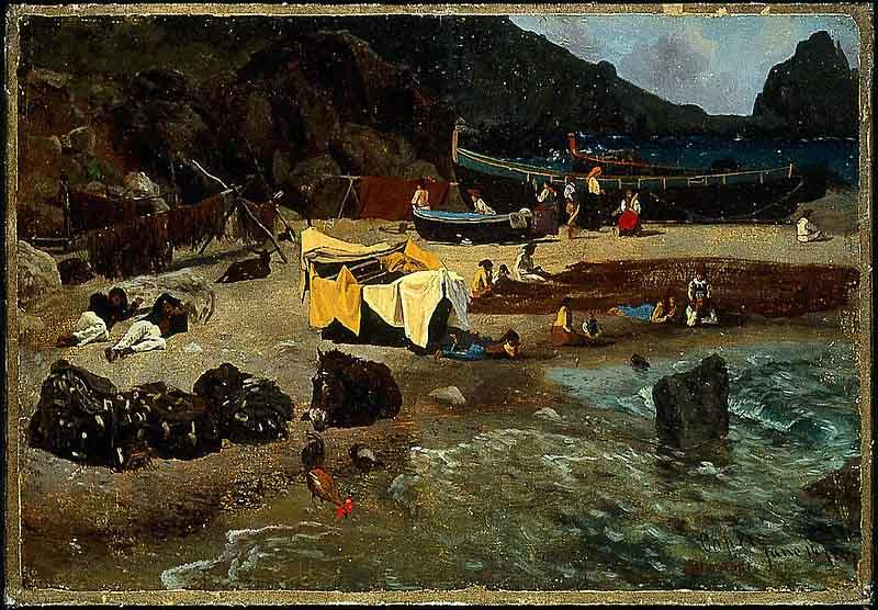 Albert Bierstadt Fishing Boats at Capri