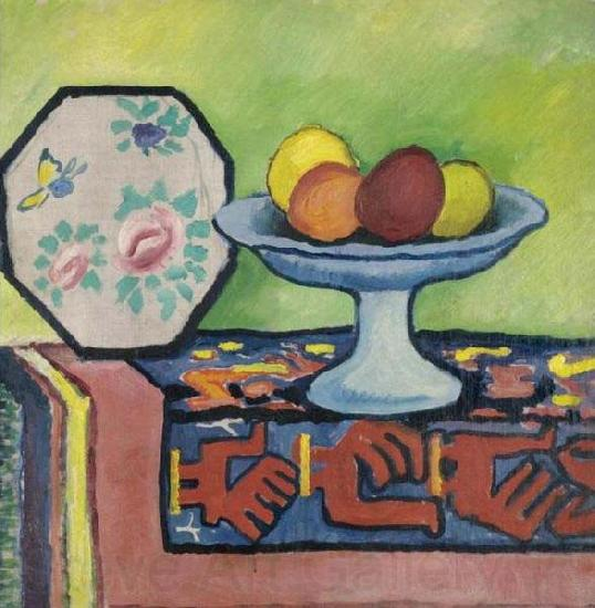 August Macke Still-life with bowl of apples and japanese fan