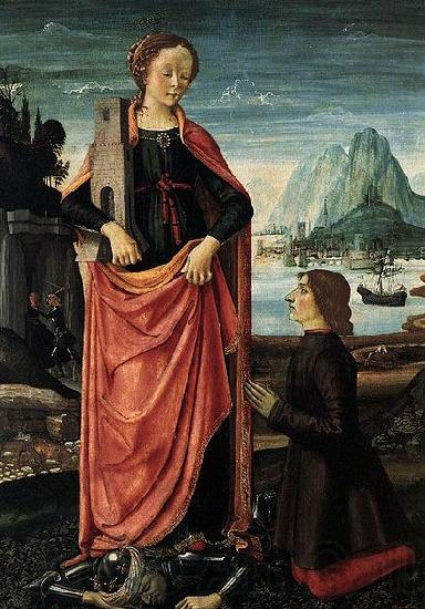 Domenico Ghirlandaio St Barbara Crushing her Infidel Father, with a Kneeling Donor