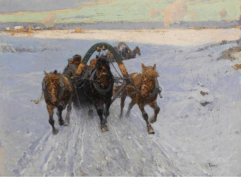 Franz Roubaud Troika racing through the snow