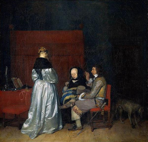 Gerard ter Borch the Younger Three Figures conversing in an Interior, known as The Paternal Admonition