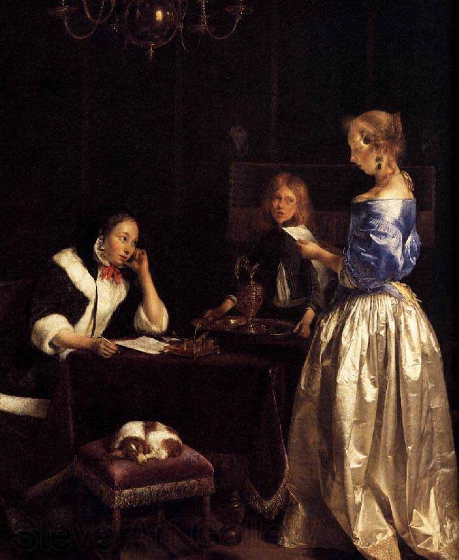 Gerard ter Borch the Younger Woman Reading a Letter