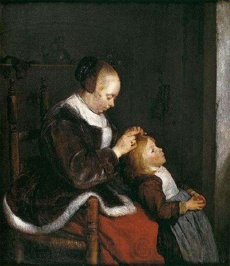 Gerard ter Borch the Younger A mother combing the hair of her child, known as Hunting for lice