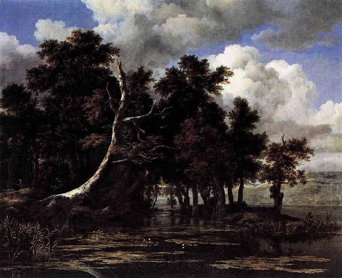 Jacob Isaacksz. van Ruisdael Oaks by a Lake with Waterlilies