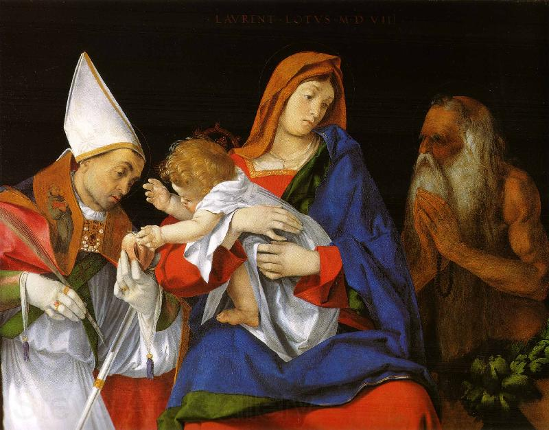 Lorenzo Lotto Madonna with Child between Sts Flavian and Onuphrius