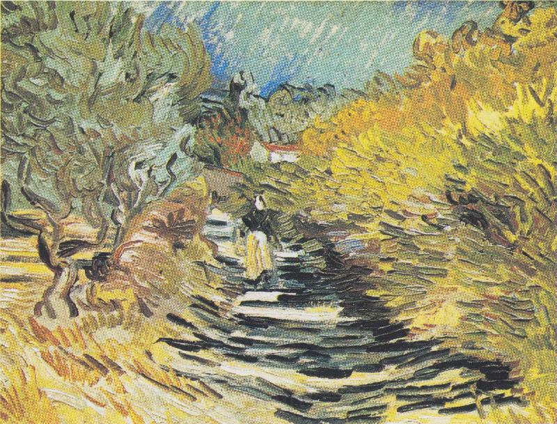 Vincent Van Gogh A Road at Saint Remy with Female Figure