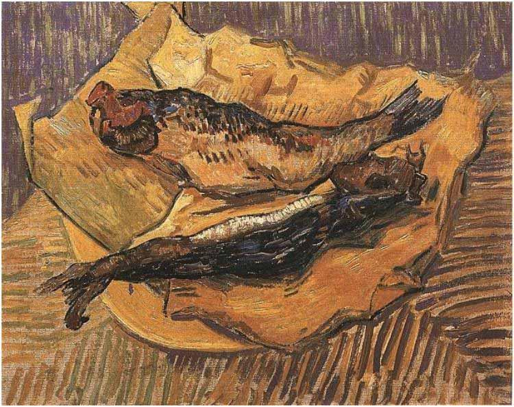 Vincent Van Gogh Bloaters on a Piece of Yellow Papers