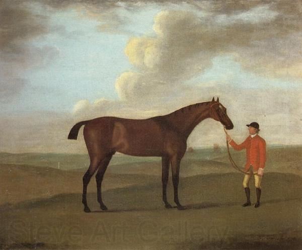 Francis Sartorius The Racehorse 'Basilimo' Held by a Groom on a Racecourse