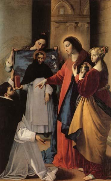 MAINO, Fray Juan Bautista The Virgin,with St.Mary Magdalen and St.Catherine,Appears to a Dominican Monk in Seriano