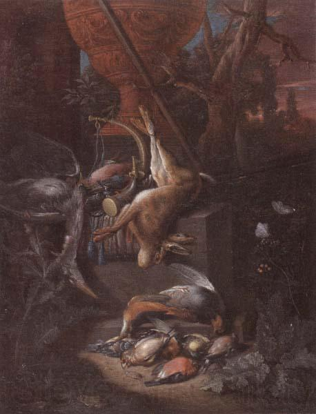 Pieter Gijsels A game still life of a hung hare,a brace of birds,a shotgun,hunting horn,and other objects,all arranged on a stone plinth and set in a landscape