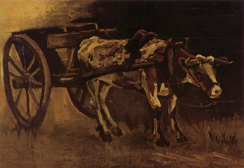 Vincent Van Gogh Cart With red and White Ox (nn04)