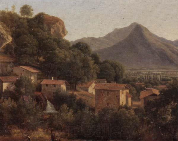 unknow artist View of a hill-top town in a mountainous landscpae