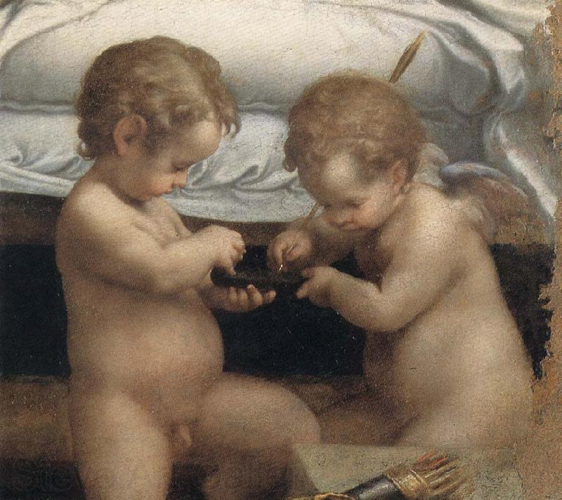 Correggio Danae,Detail of the two cupids