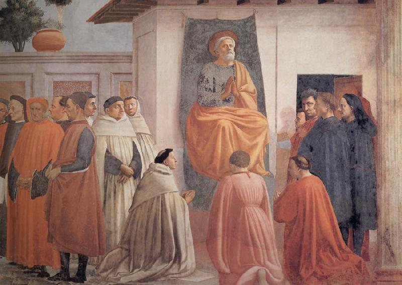 Fra Filippo Lippi Masaccio,St Peter Enthroned with Kneeling Carmelites and Others