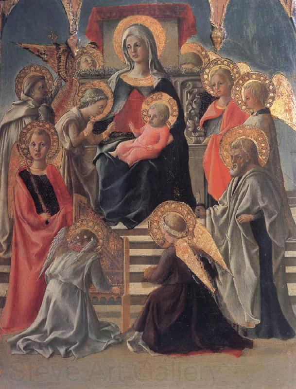 Fra Filippo Lippi Madonna and Child Enthroned with Angels,a Carmelite and other Saints
