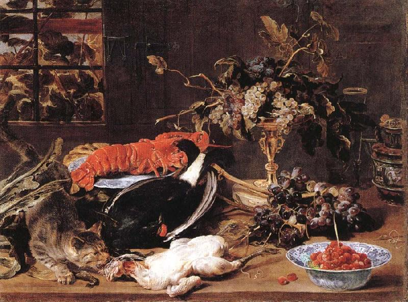 Frans Snyders Hungry Cat with Still Life