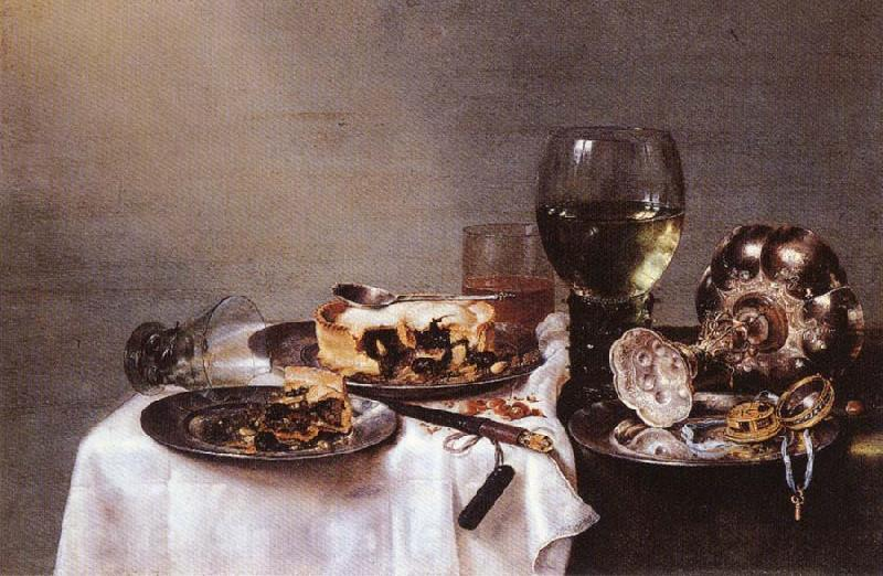 HEDA, Willem Claesz. Breakfast Table with Blackberry Pie