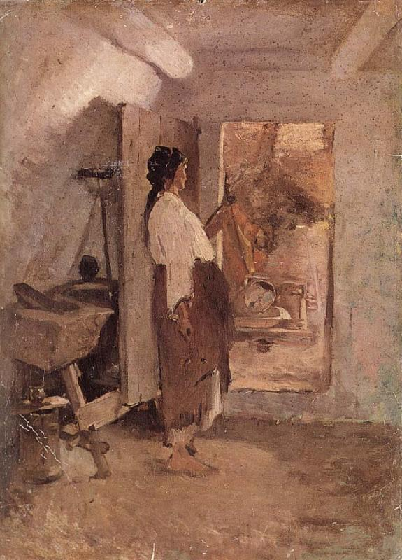 Nicolae Grigorescu Old Woman Sewing