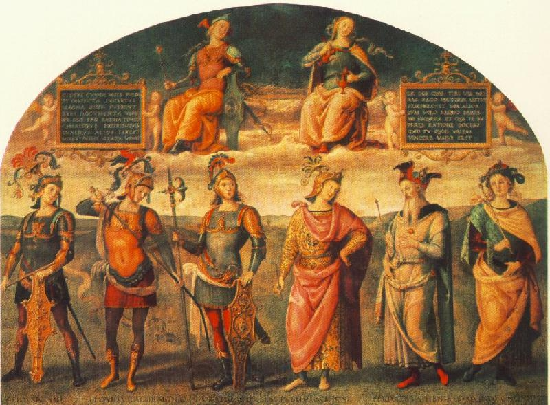 PERUGINO, Pietro Fortitude and Temperance with Six Antique Heroes